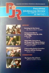 Second issue of the Philippine Journalism Review
