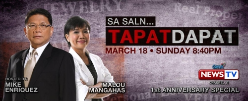 Mike Enriquez and Malou Mangahas in SA SALN TAPAT DAPAT special